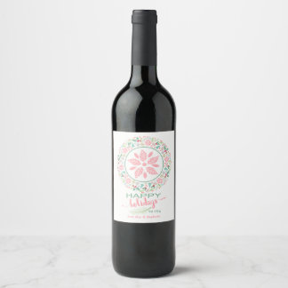 Festive Holiday Wreath Collage Wine Bottle Labels