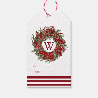 Festive Holiday Wreath Monogram Gift Tag