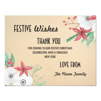 Festive Holidays Thank you Cards Merry Christmas