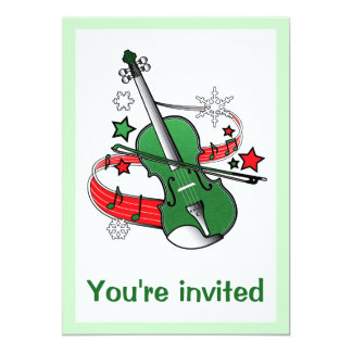 Festive Holidays Violin with Stars and Snowflakes Card