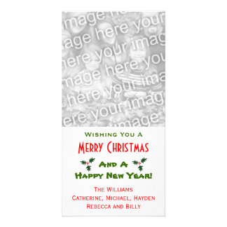 Festive Holly Berry Custom Name and Template Personalized Photo Card