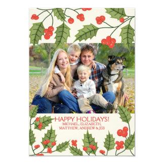Festive Holly Happy Holidays Photo Card 13 Cm X 18 Cm Invitation Card