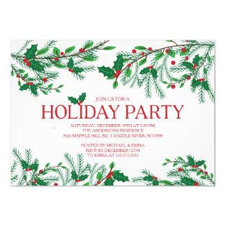 Festive Holly Holiday Party Card