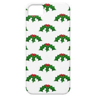Festive Holly Leaves and Berries Pattern iPhone 5 Covers