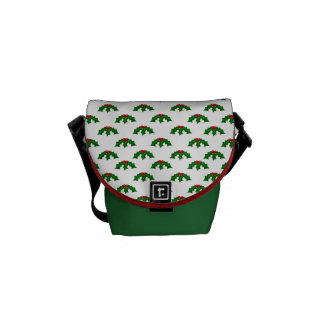 Festive Holly Leaves and Berries Pattern Courier Bag
