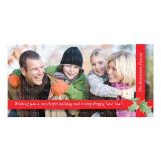 Festive Holly Ribbon: Red Customised Photo Card