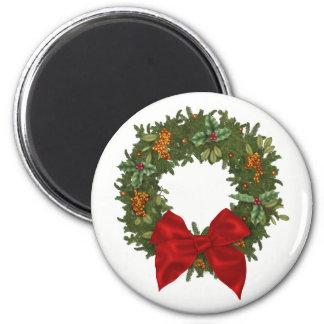 Festive Holly Wreath Christmas Magnet