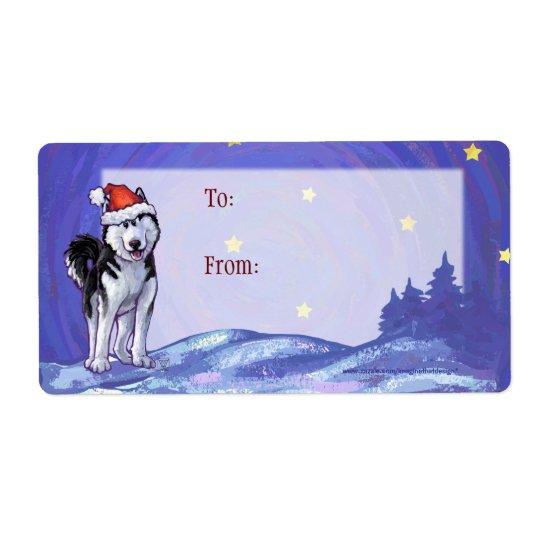 Festive Husky Christmas Gift Labels