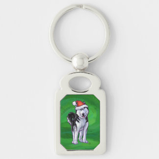 Festive Husky in Santa Hat on Green Silver-Colored Rectangle Key Ring