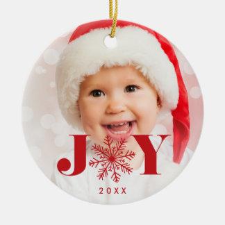 Festive Joy Holiday Photo Ceramic Ornament