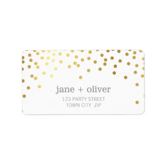 FESTIVE LABEL modern confetti spot gold foil gray Address Label