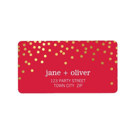FESTIVE LABEL modern confetti spots gold foil red Address Label