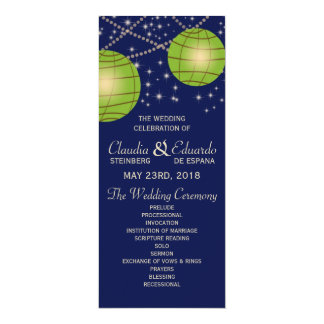 Festive Lanterns with Dark Blue & Apple Green 10 Cm X 24 Cm Invitation Card