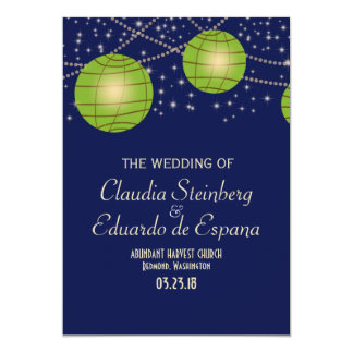 Festive Lanterns with Dark Blue & Apple Green 13 Cm X 18 Cm Invitation Card
