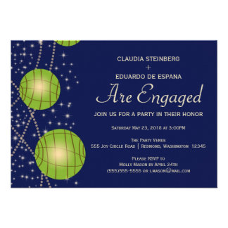 Festive Lanterns with Dark Blue Apple Green Personalized Invitations