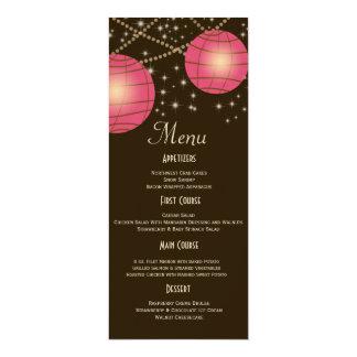 Festive Lanterns with Pastel Dark Brown & Pink 10 Cm X 24 Cm Invitation Card
