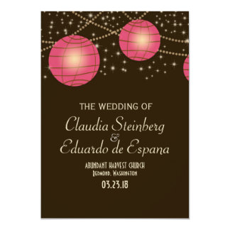 Festive Lanterns with Pastel Dark Brown & Pink 13 Cm X 18 Cm Invitation Card