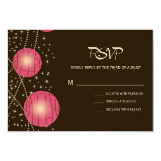 Festive Lanterns with Pastel Dark Brown & Pink 9 Cm X 13 Cm Invitation Card