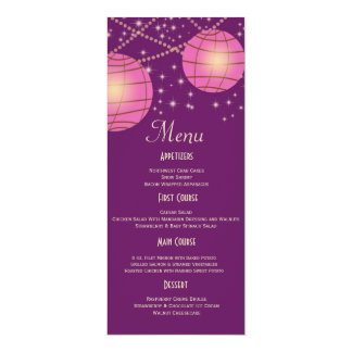 Festive Lanterns with Pastel Dark Purple & Pink 10 Cm X 24 Cm Invitation Card