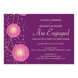 Festive Lanterns with Pastel Dark Purple & Pink 13 Cm X 18 Cm Invitation Card