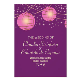 Festive Lanterns with Pastel Dark Purple & Pink 13 Cm X 18 Cm Invitation Card