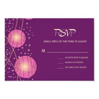 Festive Lanterns with Pastel Dark Purple & Pink 9 Cm X 13 Cm Invitation Card