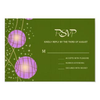 Festive Lanterns with Pastel Moss Green & Lavender 9 Cm X 13 Cm Invitation Card