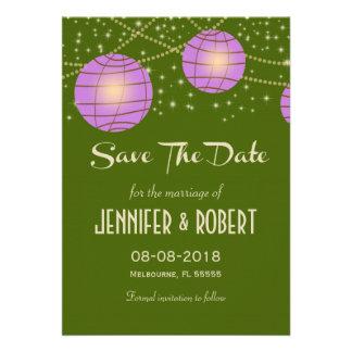 Festive Lanterns with Pastel Moss Green Lavender Invites