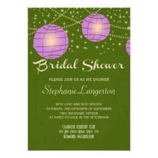 Festive Lanterns with Pastel Moss Green Lavender Custom Announcements