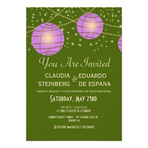 Festive Lanterns with Pastel Moss Green & Lavender Personalized Invitation