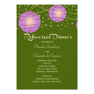 Festive Lanterns with Pastel Moss Green Lavender Announcement