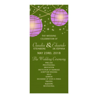 Festive Lanterns with Pastel Moss Green Lavender Personalized Announcements