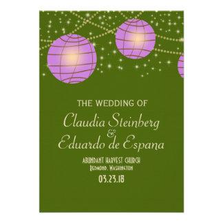 Festive Lanterns with Pastel Moss Green Lavender Custom Invite