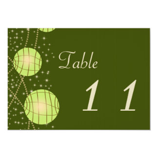 Festive Lanterns with Pastel Olive & Apple Green 13 Cm X 18 Cm Invitation Card
