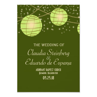 Festive Lanterns with Pastel Olive & Apple Green 13 Cm X 18 Cm Invitation Card