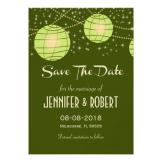 Festive Lanterns with Pastel Olive & Apple Green Custom Announcements