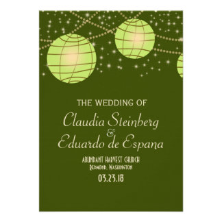 Festive Lanterns with Pastel Olive Apple Green Invites