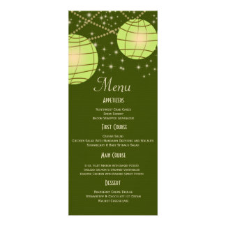 Festive Lanterns with Pastel Olive Apple Green Personalized Announcement