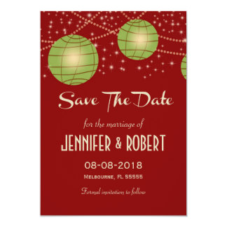 Festive Lanterns with Pastel Red & Apple Green 13 Cm X 18 Cm Invitation Card