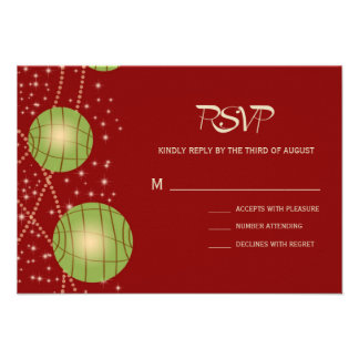 Festive Lanterns with Pastel Red Apple Green Custom Invitations