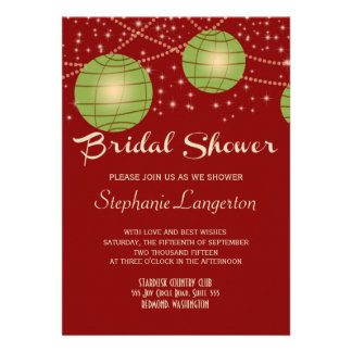 Festive Lanterns with Pastel Red Apple Green Invite