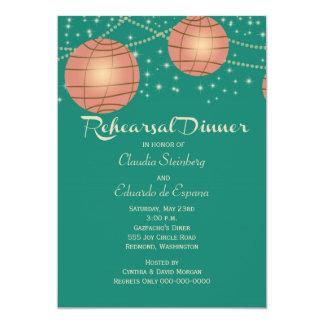 Festive Lanterns with Pastel Sea Green & Tea Rose 13 Cm X 18 Cm Invitation Card