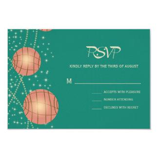 Festive Lanterns with Pastel Sea Green & Tea Rose 9 Cm X 13 Cm Invitation Card