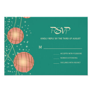 Festive Lanterns with Pastel Sea Green Tea Rose Custom Invite