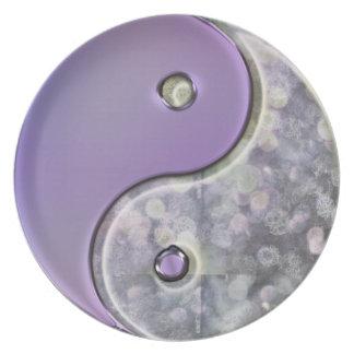 Festive Lavender Bokeh Yin-Yang Holiday Decor Party Plates