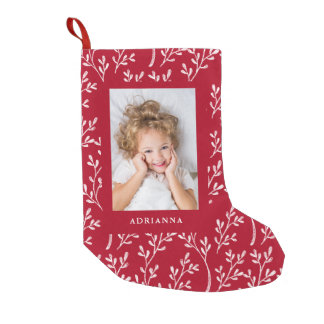 Festive Leaves | Red Holiday Photo Small Christmas Stocking