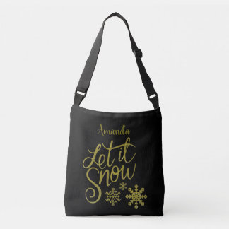 "Festive ""Let it Snow"" Black Gold Glitter Crossbody Bag"