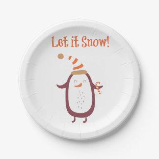Festive Let It Snow Paper Plate