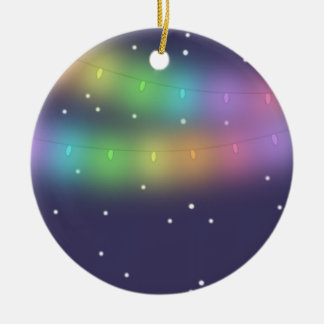 Festive lights and falling snow - Decoration Round Ceramic Decoration