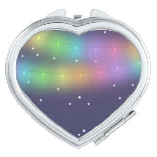 Festive lights and falling snow Pocket Mirror Makeup Mirrors